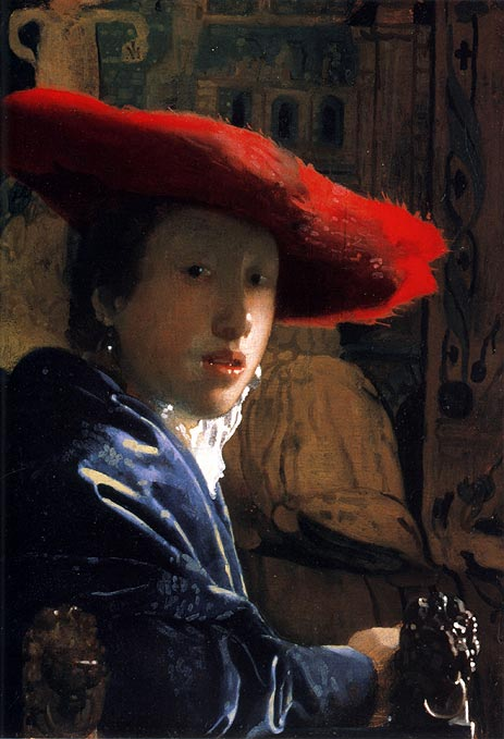 Girl with a Red Hat, c.1665/66 | Vermeer | Painting Reproduction