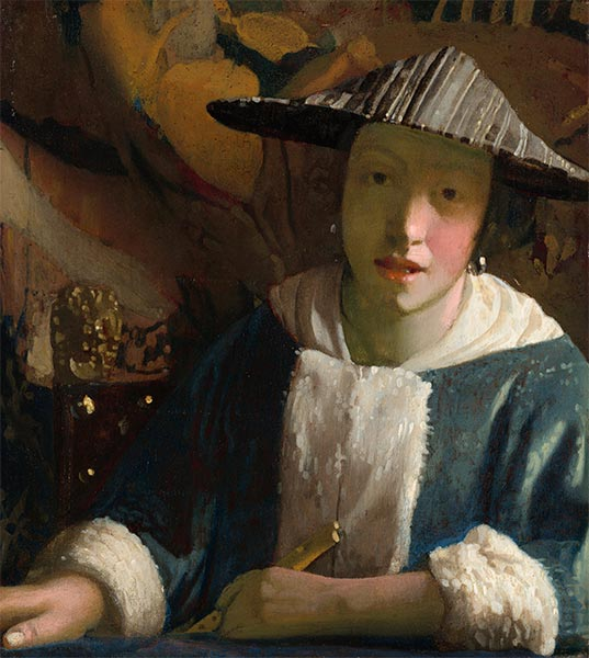 Young Girl with a Flute, c.1665/75 | Vermeer | Painting Reproduction