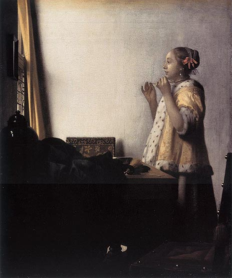 Woman with a Pearl Necklace, c.1664 | Vermeer | Painting Reproduction