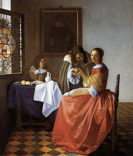 A Lady and Two Gentlemen (The Girl with the Wineglass), c.1658/59 | Vermeer | Giclée Canvas Print