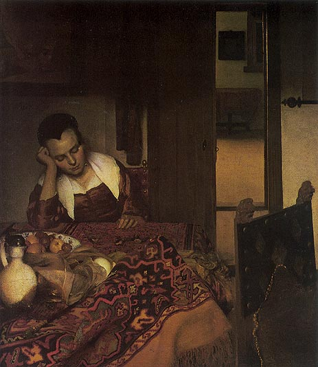 A Girl Asleep, c.1657 | Vermeer | Painting Reproduction