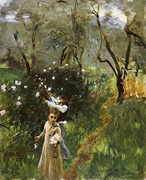 Sargent | Gathering Flowers at Twilight | Giclée Canvas Print