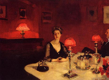 A Dinner Table at Night (The Glass of Claret), 1884 | Sargent | Painting Reproduction