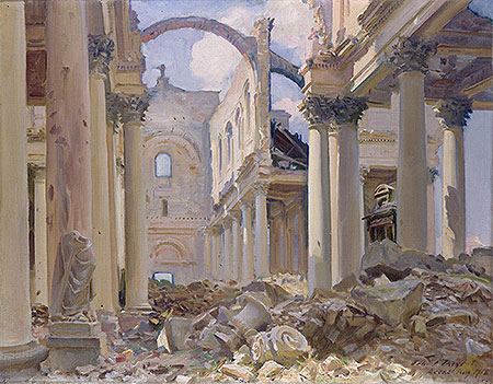 Ruined Cathedral, Arras, 1918 | Sargent | Painting Reproduction