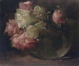 John White Alexander | White and Pink Roses, c.1886 | Giclée Canvas Print