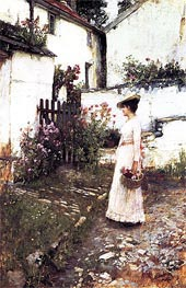 Waterhouse | Gathering Flowers in a Devonshire Garden | Giclée Canvas Print