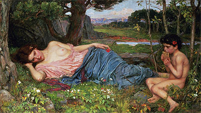 Listening to My Sweet Pipings, 1911 | Waterhouse | Giclée Canvas Print