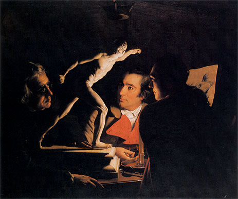 Three Persons Viewing the Gladiator by Candle Light, 1765 | Wright of Derby | Painting Reproduction