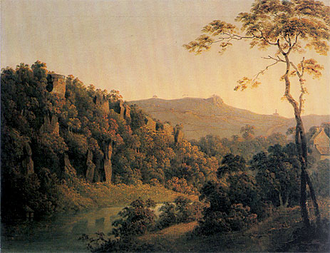View in Matlock Dale looking South to Black Rock Escarpment, c.1780/85 | Wright of Derby | Giclée Canvas Print