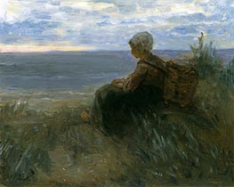 Jozef Israels | A Fishergirl on a Dune-Top Overlooking the Sea, c.1900 | Giclée Canvas Print