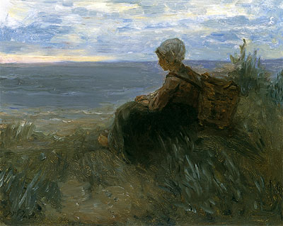 A Fishergirl on a Dune-Top Overlooking the Sea, c.1900   Jozef Israels   Giclée Canvas Print