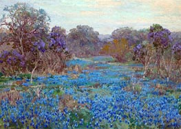 Julian Onderdonk | Field of Bluebonnets with Trees, undated | Giclée Canvas Print