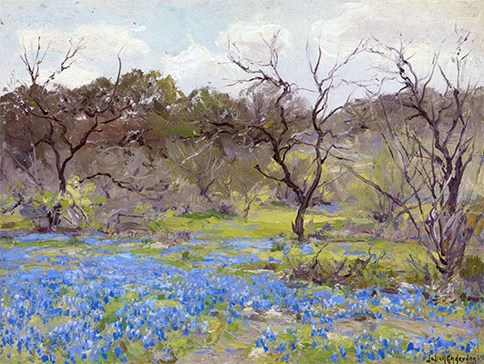 Early Spring, Bluebonnets and Mesquite, 1919 | Julian Onderdonk | Giclée Canvas Print