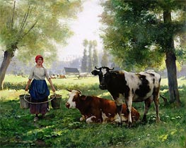 Julien Dupre | The Milk Girl, undated | Giclée Canvas Print