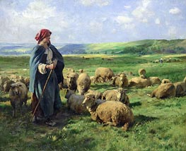 Julien Dupre | A Young Shepherdess Watching Over Her Flock, undated | Giclée Canvas Print
