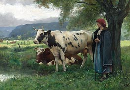 Julien Dupre | Peasant Woman with Cows, Undated | Giclée Canvas Print