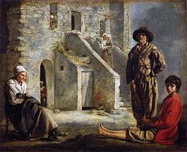 Le Nain Brothers | Peasants Before Their House | Giclée Canvas Print