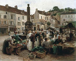 Leon-Augustin Lhermitte | The Market at Chateau-Thierry | Giclée Canvas Print
