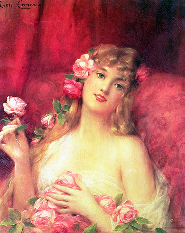 Woman with a Rose, undated | Leon Comerre | Painting Reproduction