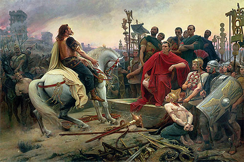 Vercingetorix Throws down his Arms at the Feet of Julius Caesar, 1899 | Lionel Royer | Giclée Canvas Print