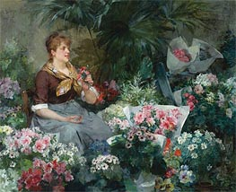 Louis Marie de Schryver | The Flower Seller, 1887 | Giclée Canvas Print