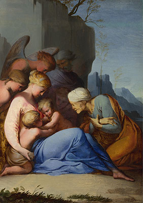 The Holy Family with Saints and Angels, a.1642 | Lubin Baugin | Giclée Canvas Print