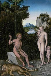 Lucas Cranach | A Faun and His Family with a Slain Lion | Giclée Canvas Print
