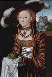 Lucas Cranach | Portrait of a Young Lady Holding Grapes and Apples  | Giclée Canvas Print