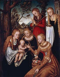 Lucas Cranach | (Marriage of St Catherine) The Virgin and Child with Sts Catherine, Dorothy, Margaret and Barbara | Giclée Canvas Print