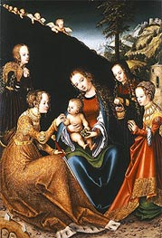 Lucas Cranach | The Mystic Marriage of Saint Catherine of Alexandria with Saints Dorothy, Margaret and Barbara | Giclée Canvas Print