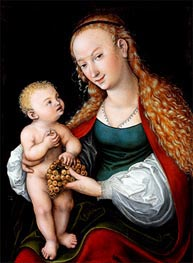 Lucas Cranach | The Virgin and Child with a Bunch of Grapes | Giclée Canvas Print