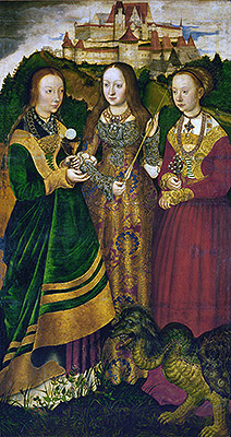 Saint Barbara with Chalice and Host, Saint Ursula with Arrow and Saint Margaret with the Dragon (St. Catherine Altarpiece - Right Panel), 1506 | Lucas Cranach | Painting Reproduction