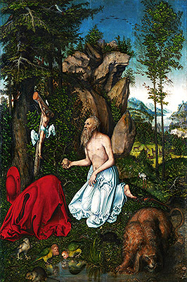 St. Jerome in the Desert, c.1525 | Lucas Cranach | Painting Reproduction