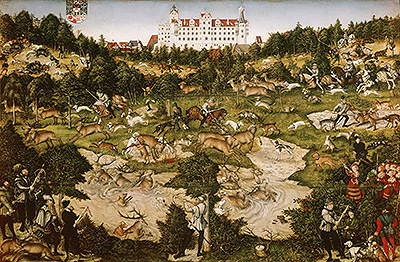 A Hunt in Honor of Carlos V at Torgau Castle, 1544 | Lucas Cranach | Giclée Canvas Print