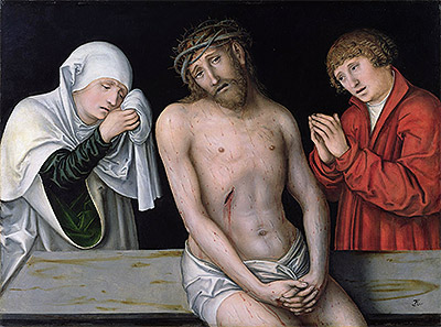 Christ as the Man of Sorrows with the Virgin and St. John, undated | Lucas Cranach | Giclée Canvas Print