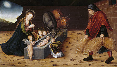 The Nativity with Adoring Child Angels, undated | Lucas Cranach | Giclée Canvas Print