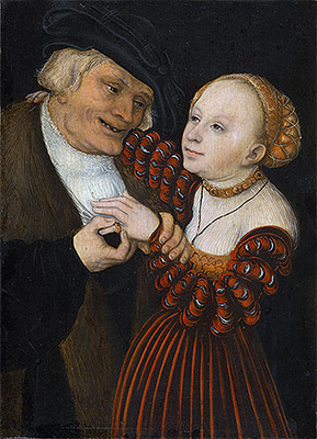 An Old Man with a Girl, c.1530/40 | Lucas Cranach | Giclée Canvas Print