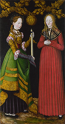 Saints Genevieve and Apollonia (The St Catherine Altarpiece), 1506 | Lucas Cranach | Painting Reproduction