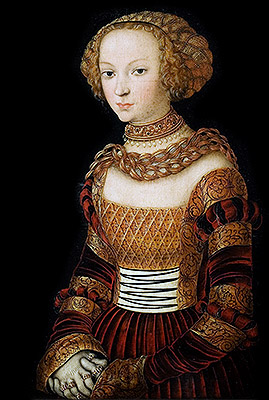 Portrait of a Young Woman (Princess Emilia of Saxony), c.1537 | Lucas Cranach | Giclée Canvas Print