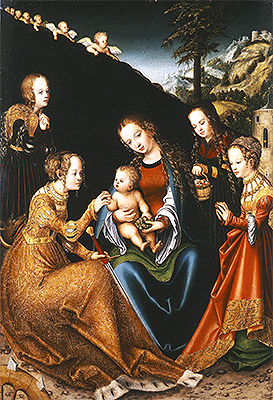 The Mystic Marriage of Saint Catherine of Alexandria with Saints Dorothy, Margaret and Barbara, c.1516/18 | Lucas Cranach | Giclée Canvas Print