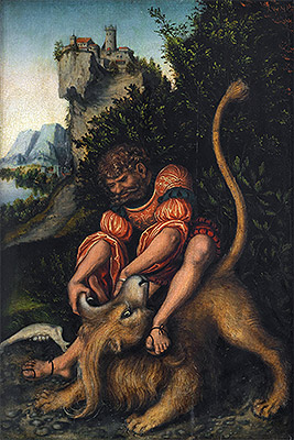Samson Battling with the Lion, c.1520/25 | Lucas Cranach | Painting Reproduction