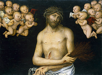 Christ as the Man of Sorrows Flanked by Angels, c.1540 | Lucas Cranach | Giclée Canvas Print