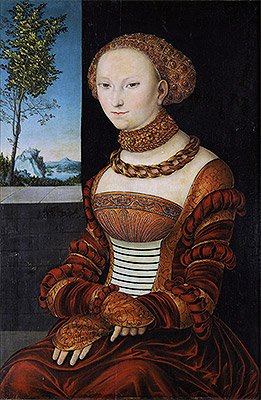 Portrait of a Young Woman (Sibylle of Cleve), c.1526 | Lucas Cranach | Painting Reproduction