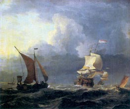 Bakhuysen | Ships in a Storm | Giclée Canvas Print