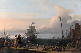Bakhuysen | Dutch Ships in the Roads of Texel: in the middle the Gouden Leeuw, the Flagship of Cornelis Tromp | Giclée Canvas Print