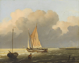 Bakhuysen | Seas off the Coast with Spritsail Barge, 1697 | Giclée Canvas Print