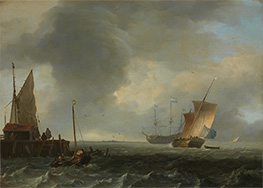 Bakhuysen | A View across a River near Dordrecht, c.1665 | Giclée Canvas Print