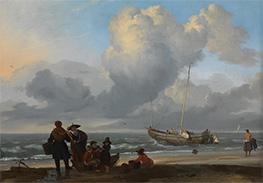 Bakhuysen | A Beach Scene with Fishermen, c.1665 | Giclée Canvas Print