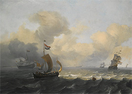 Bakhuysen | Dutch Vessels Off a Coastline on a Breezy Day, Undated | Giclée Canvas Print