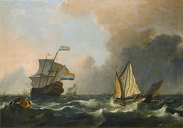 Bakhuysen | Shipping in Rough Waters Off the Dutch Coast, Undated | Giclée Canvas Print